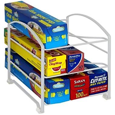 DecoBros Kitchen Wrap Organizer Rack,White (Small / Standard, 2-1/2  BOX)