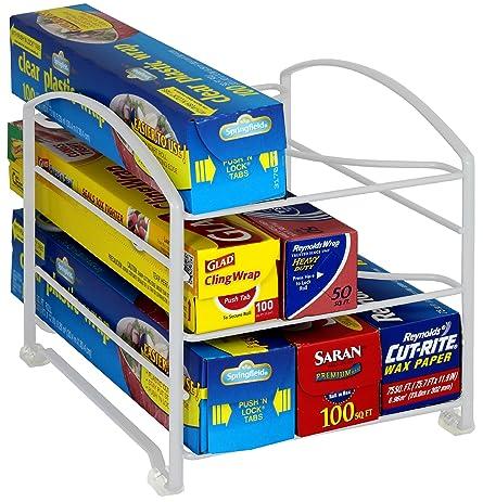 Amazon.com - DecoBros Kitchen Wrap Organizer Rack, White (Small ...