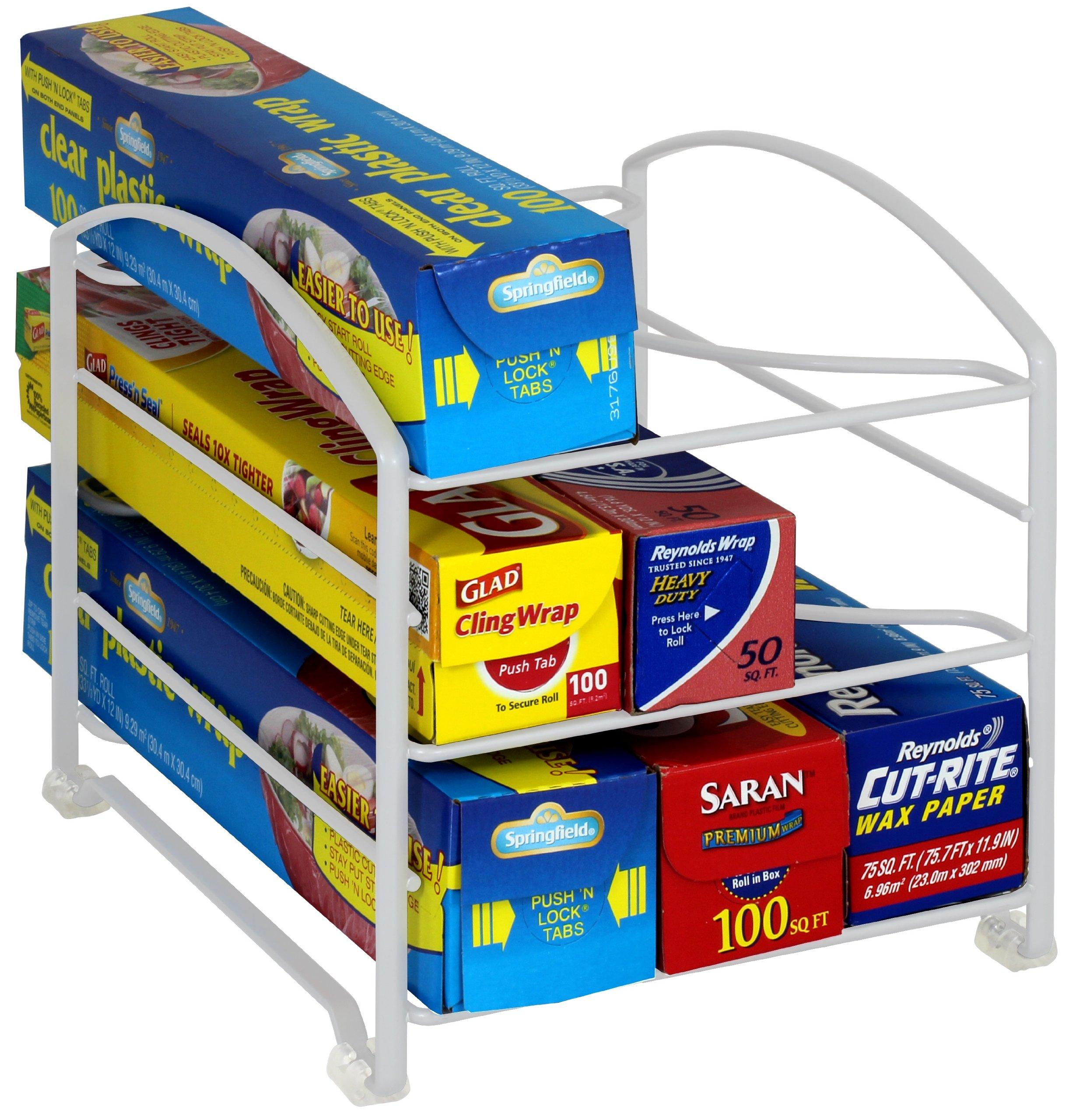 DecoBros Kitchen Wrap Organizer Rack,White (Small / Standard, 2-1/2'' BOX)