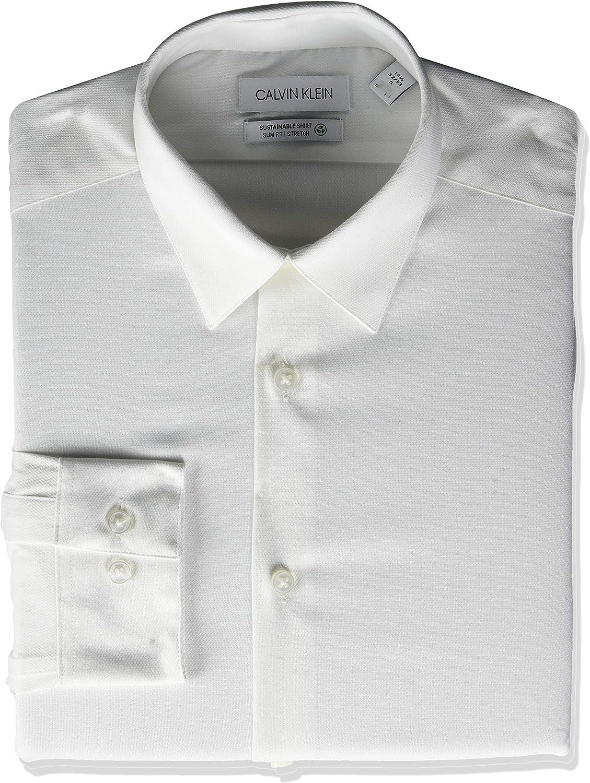 Calvin Klein Non Iron Stretch Camisa de Vestir, Natural, S (Cuello 36 cm Manga 81/84 cm) para Hombre: Amazon.es: Ropa y accesorios