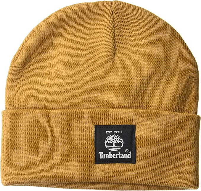 Wheat Timberland beanie with black logo tag