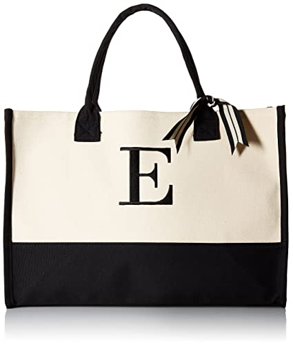 2da821b5711e Image Unavailable. Image not available for. Color  Mud Pie E-Initial Canvas  Tote