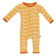 Kickee Pants Baby Girls' Print Coverall Prd-kpca213-beed, Fuzzy Bee Ducks, 6-9 Months