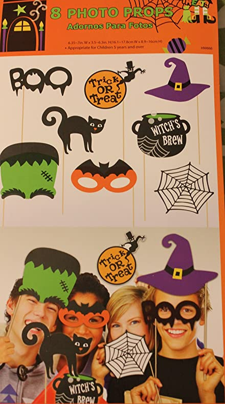 Amazon Com 8 Big 5 Cute Halloween Photo Booth Props With 10