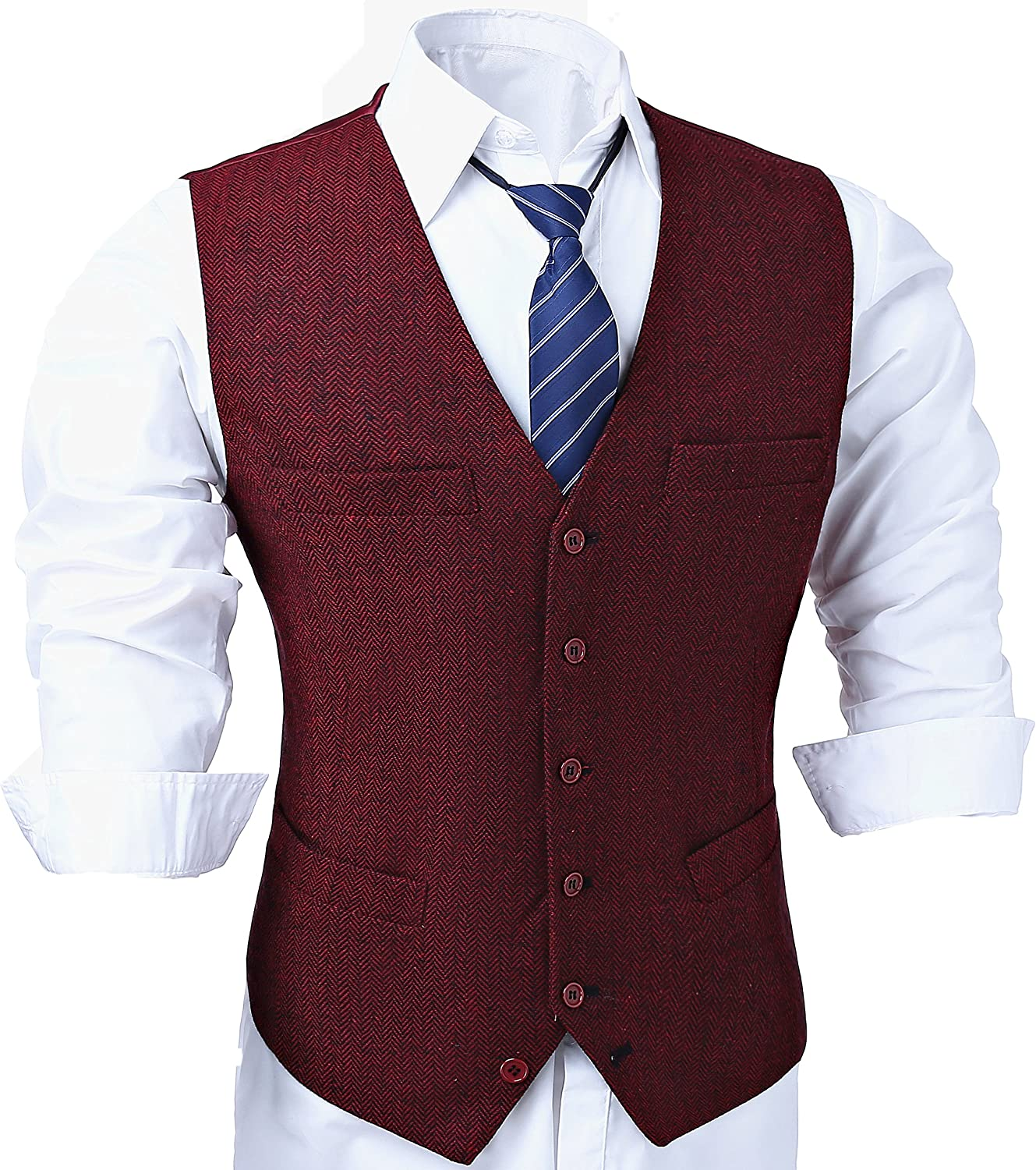 JinXi Herringbone Six Button Mens Slim Trim Fit Tuxedos Suits Vest