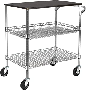 Finnhomy 3 Tier Heavy Duty Commercial Grade Utility Cart with Wood Top, Wire Rolling Cart with Handle Bar, Steel Service Cart with Wheels, Utility Shelf Food Storage Trolley, NSF Listed