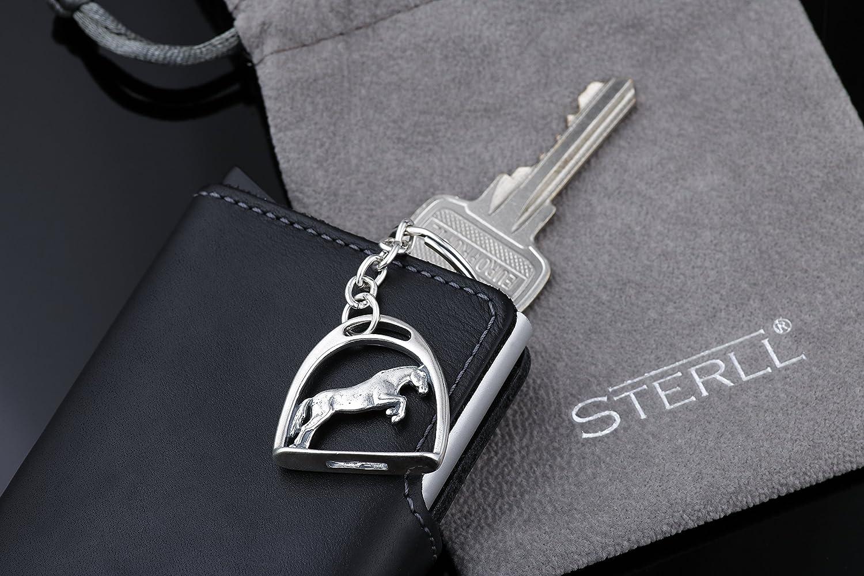 STERLL Homme Porte-clefs Porte-bonheur Cheval /Étrier Argent Sterling Oxid/é Pochette /à Bijoux Id/ée Cadeau Pour