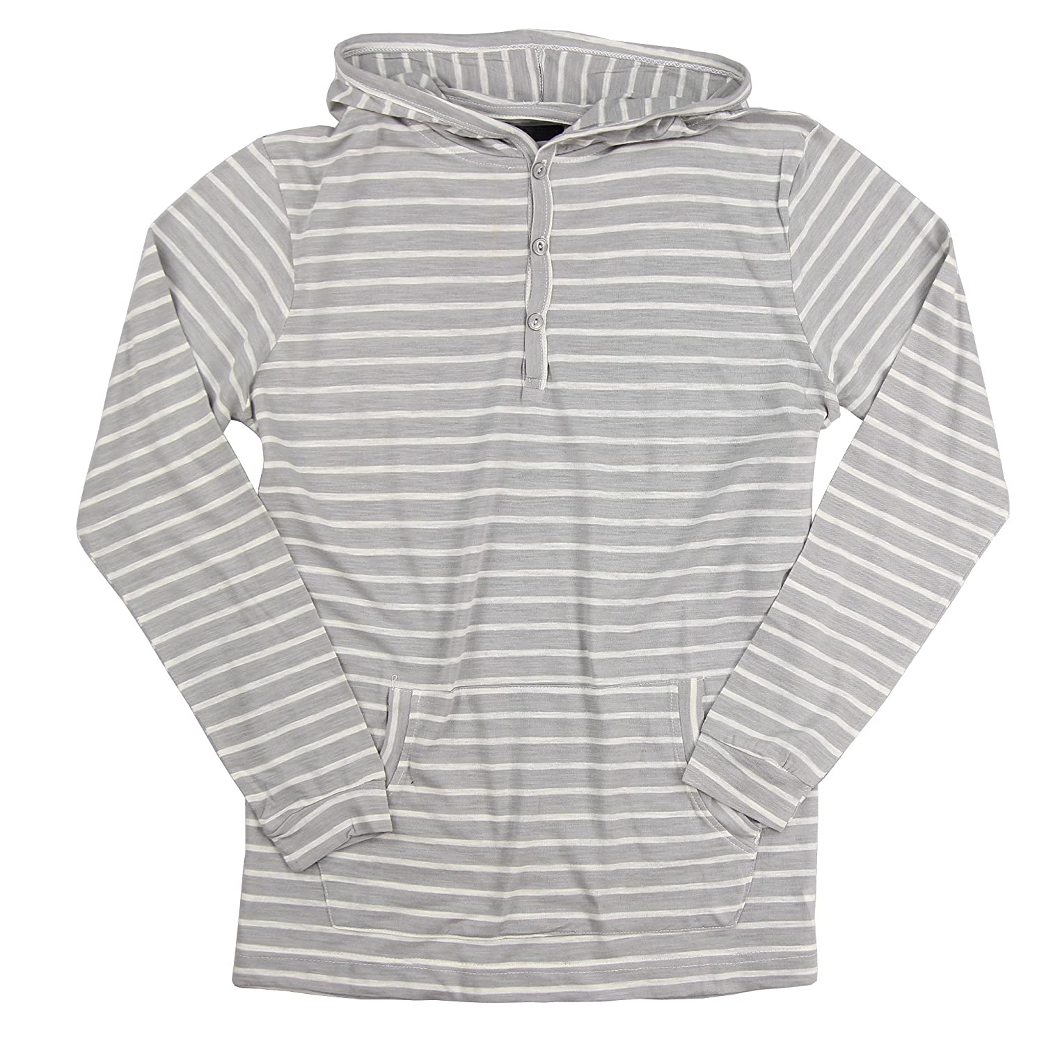 Grey White Small Royal Knights & Co Men's Lightweight Henley Striped Hoodie