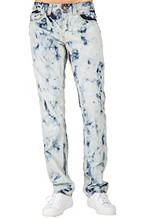 317ee70bca Level 7 Men's Premium Jeans Slim Straight Abstract Bleached Wash Size 30 ...