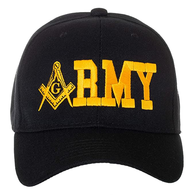 686868ae4cb0d United States Army Masonic Square and Compass Embroidered Black Baseball Cap  at Amazon Men s Clothing store