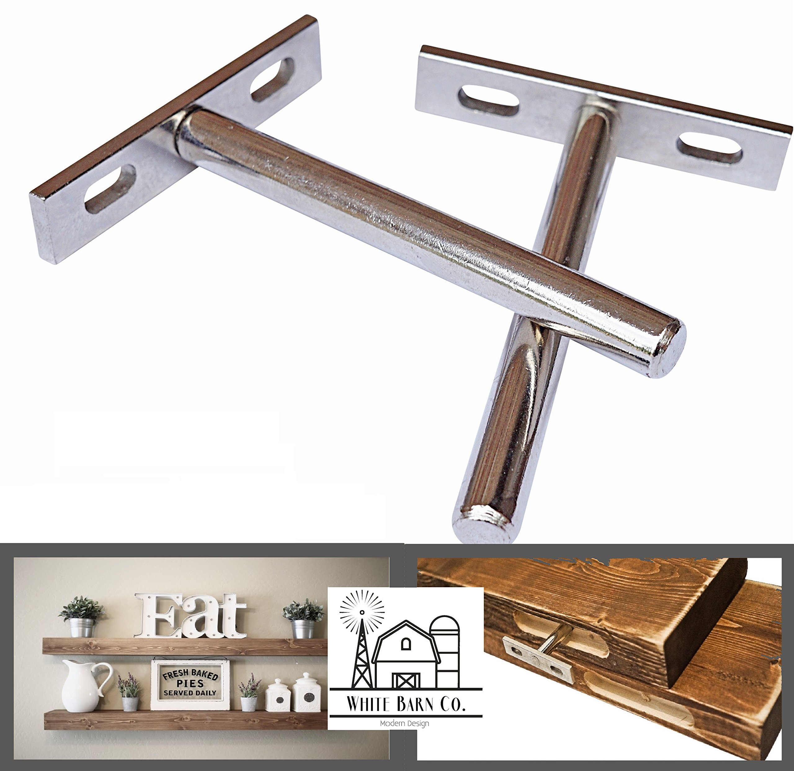 2 INVISIBLE FLOATING SHELF BRACKETS - COMPLETELY HIDDEN - FLUSH MOUNT - LOW PROFILE - Invisible supports for any type of shelf - Hardened Steel Blind Supports 5-8'' width shelves 30lbs - (4'')