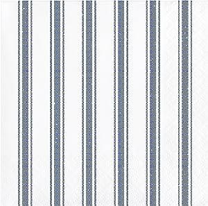 Navy Ticking Stripe Beverage Napkins, 48 ct