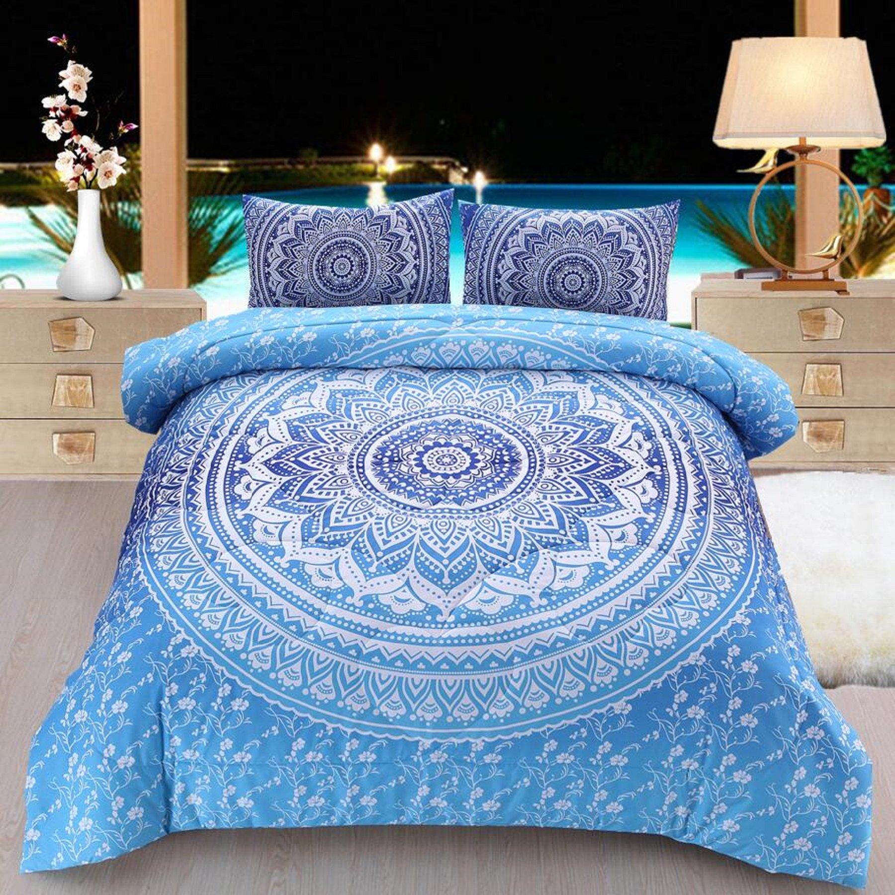 Meeting Story 3Pcs Mandala Bohemian Moonlight Bedding Bedspread Comforter Set (Blue, Queen)