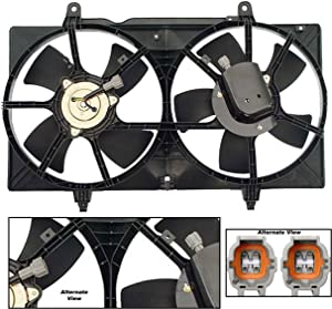 APDTY 731520 Dual Radiator & AC Condenser Cooling Fan Blade Motor Shroud Assembly Fits 2002-2006 Nissan Altima 2003-2008 Nissan Maxima (Replaces 214818J001, 214818J01A, 21481-8J100, 214818J110)