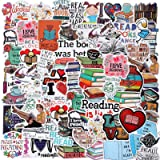 Zonon 100 Pieces Reading Stickers Waterproof Motivational Stickers Vintage Books Study Stickers for Computer, Luggage, Guitar