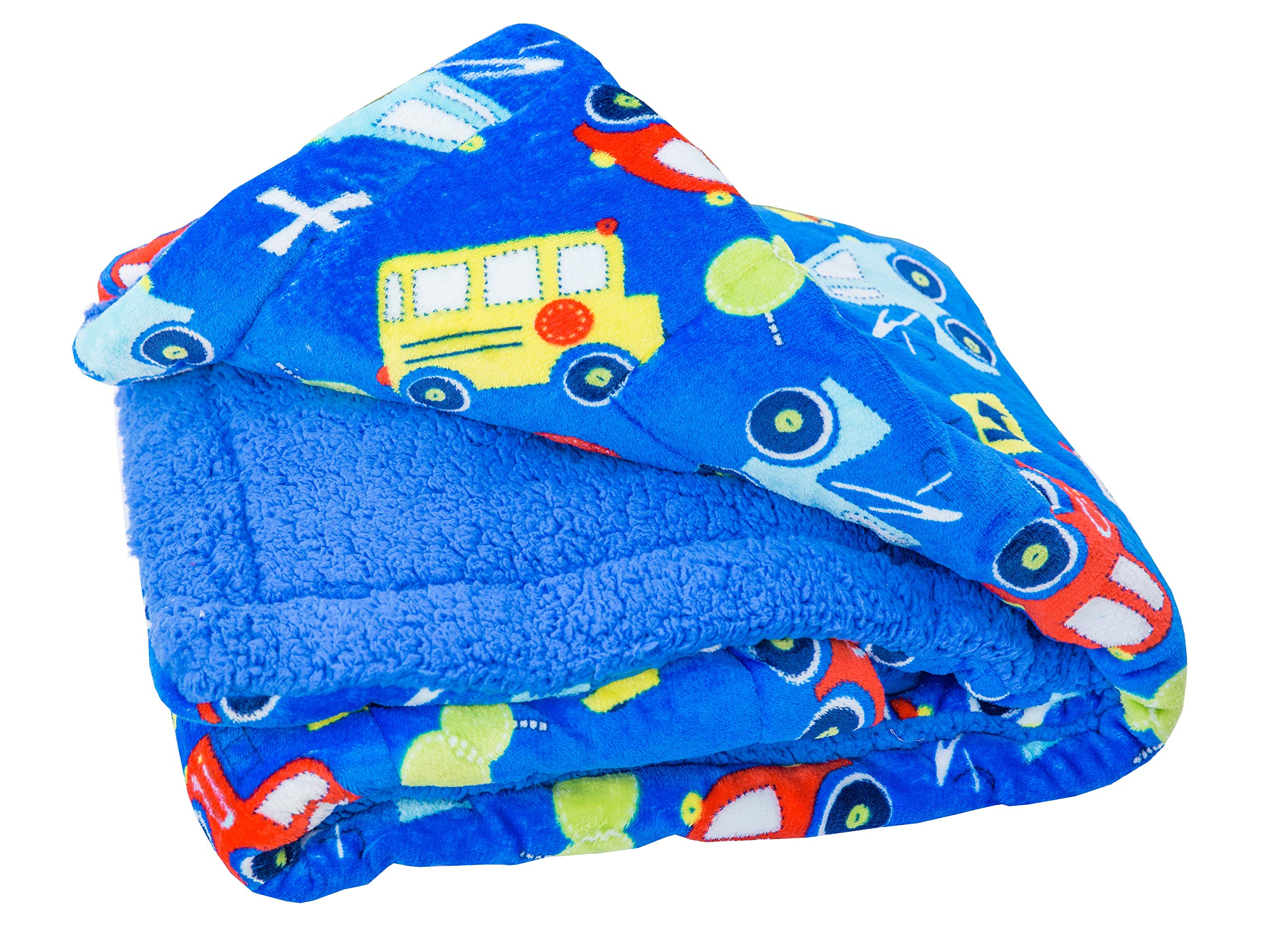 Elegant Home Kids Soft & Warm Cars Trucks Buses Sherpa Baby Toddler Boy Sherpa Blanket Multicolor Printed Borrego Stroller or Toddler Bed Blanket Plush Throw 40X50# Car by Elegant Home