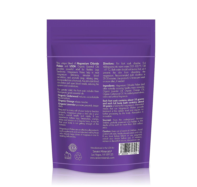 Nuevos Copos de cloruro de magnesio RESTLESS LEGS 1.36kg, que se absorbe mejor que la sal de Epsom - Fórmula única de remojo de pies para el síndrome de ...