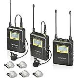 "Saramonic UWMIC9 96-Channel Digital UHF Wireless Lavalier Microphone System with 2 Bodypack Transmitters, Portable Receiver, 2 Lav Mics & Bonus ""Deadcat"" Lav Mic Windscreens (RX9+TX9+TX9)"