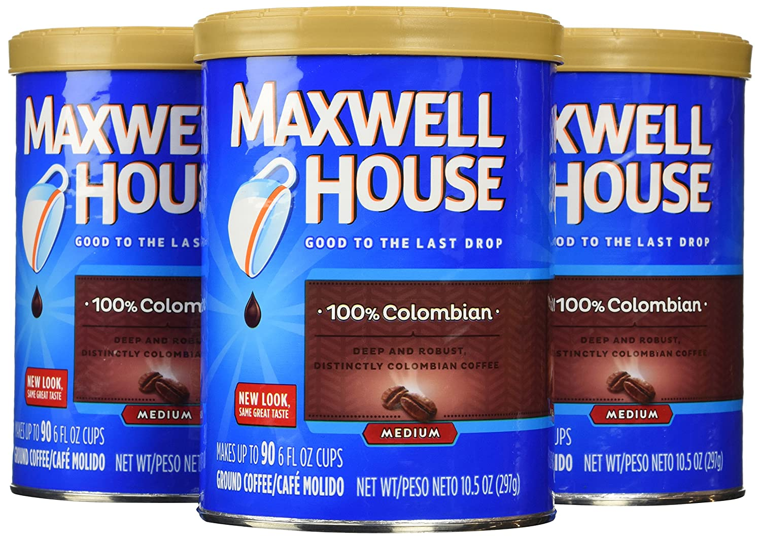 Maxwell House 100% Colombian Medium Roast Ground Coffee (10.5 oz Canisters, Pack of 3)