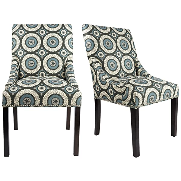 Sole Designs The Marie Collection Contemporary Style Patterned Fabric Upholstered Double Dow Dining Chairs with Nailhead Trim (Set of 2), Teal
