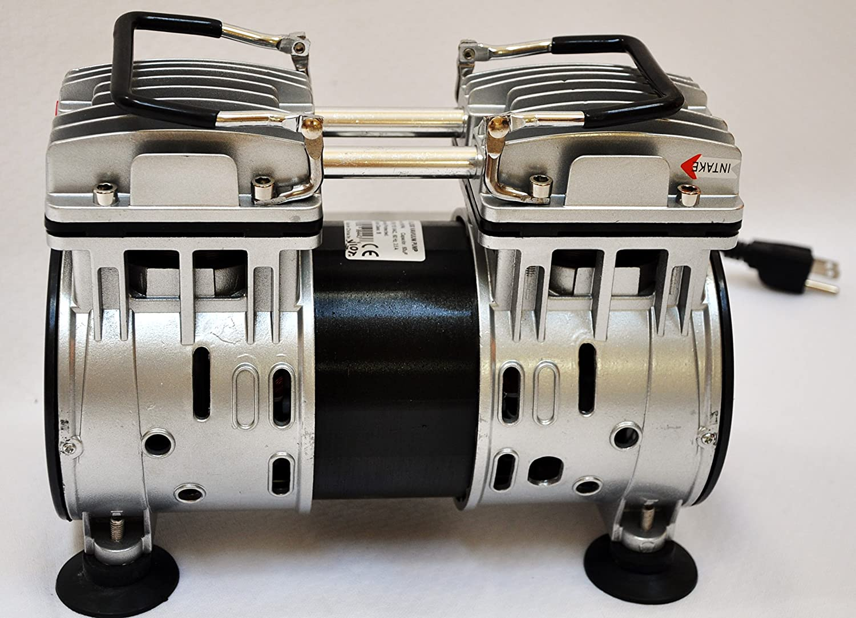 Twin Piston Oil-Less Oil-Free Vacuum Pump 4.5CFM for Medical Dental Science Lab Workshop Push/Pull Compressor +Milker Machine Hook up