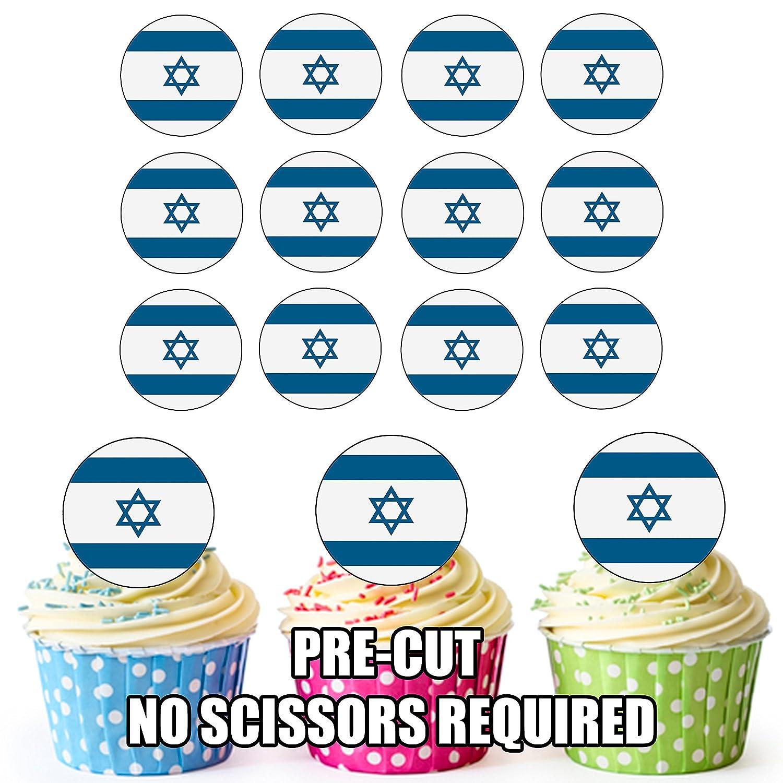 Birthday Cake Decorations Israel Flag 24 Edible Cupcake Toppers Easy Precut Circles