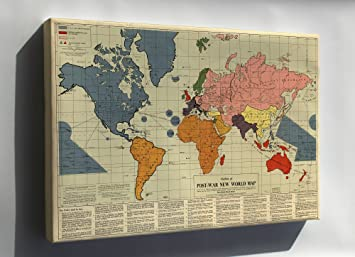 Amazon canvas 24x36 outline of post war new world map 1942 canvas 24x36 outline of post war new world map 1942 publicscrutiny Choice Image