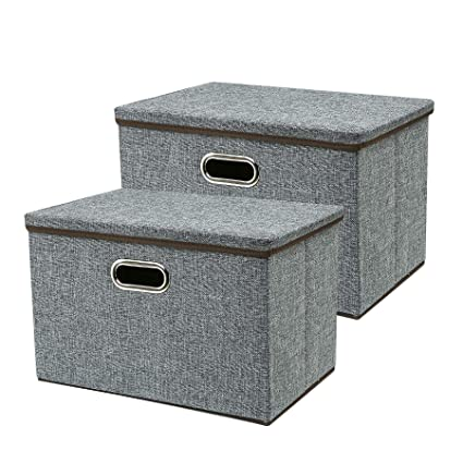 Zonyon Large Storage Box, 17.7u0027u0027 Sturdy Collapsible Fabric Storage Bin  Container Bakset Home