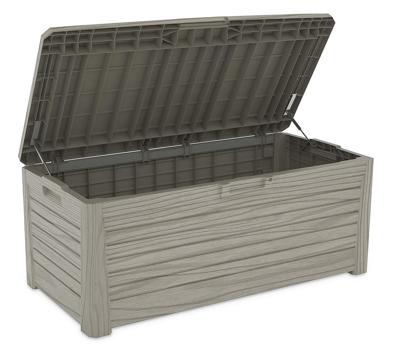 XL Toomax Kissenbox #Z155 Florida grau 550 Liter Inhalt Holz Optik - mit Sitzfläche 350 kg Tragkraft - absolut wasserdicht - abschließbar
