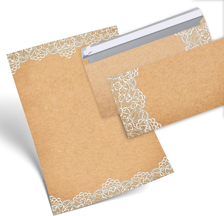 Vintage Briefumschl/äge im DIN Format beidseitig bedruckt ohne Fenster 25 Umschl/äge
