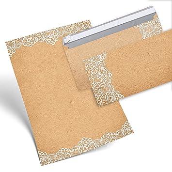 8fc97331295 Set 12 hojas de papel carta Vintage punta Color Blanco ambos lados 100 g  DIN A4 ...