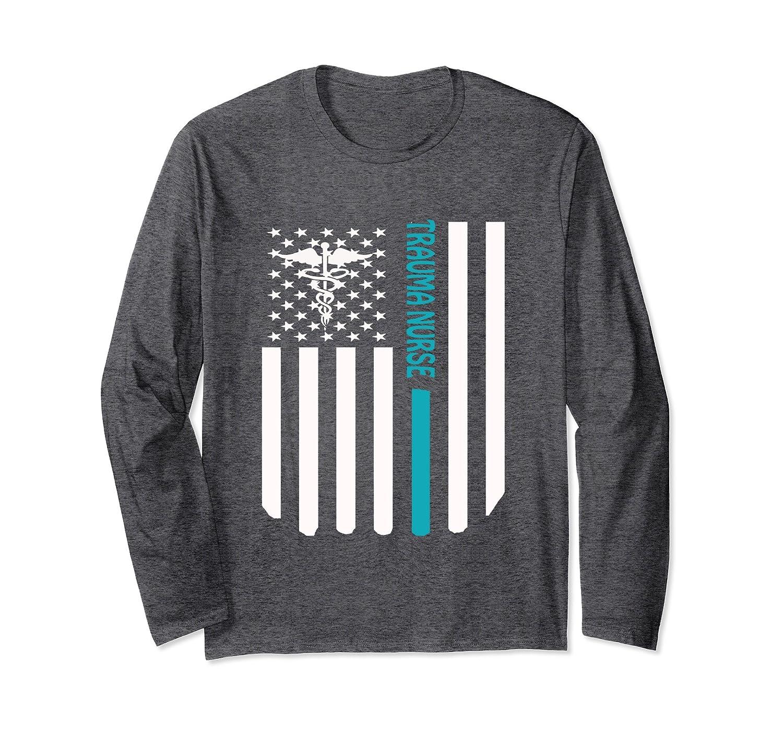 Trauma Nurse distressed American flag custom nurse tshirt-Protee