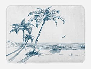 Ambesonne Island Bath Mat, Sketch Art of a Tropical Seaside with Palm Trees Fishing Boat Flying Birds, Plush Bathroom Decor Mat with Non Slip Backing, 29.5