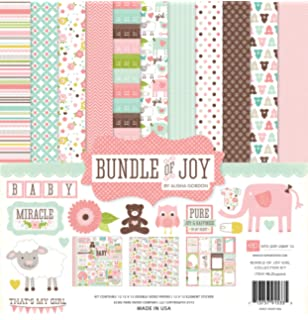 Blue Echo Park Paper Company BAG202014 Baby Girl Element Sticker Paper Pink Green Yellow