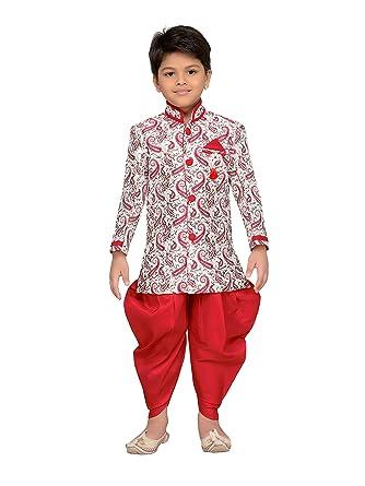AJ Dezines Baby Boys Indian Ethnic Indo Western Sherwani Suit for Kids - Red - (