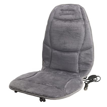Healthmate In9438 2 Velour 12v Heated Seat Cushion With Lumbar Support Heating With Easy Controller Color Gray Products By Wagan