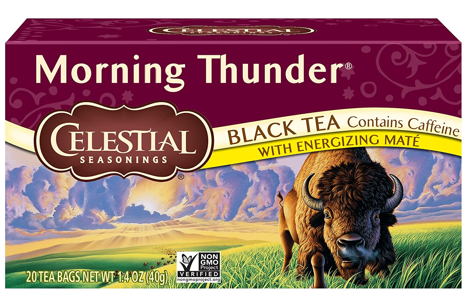 Celestial Seasonings Black Tea, Morning Thunder with Maté, 20 Count (Pack of 6) 48889