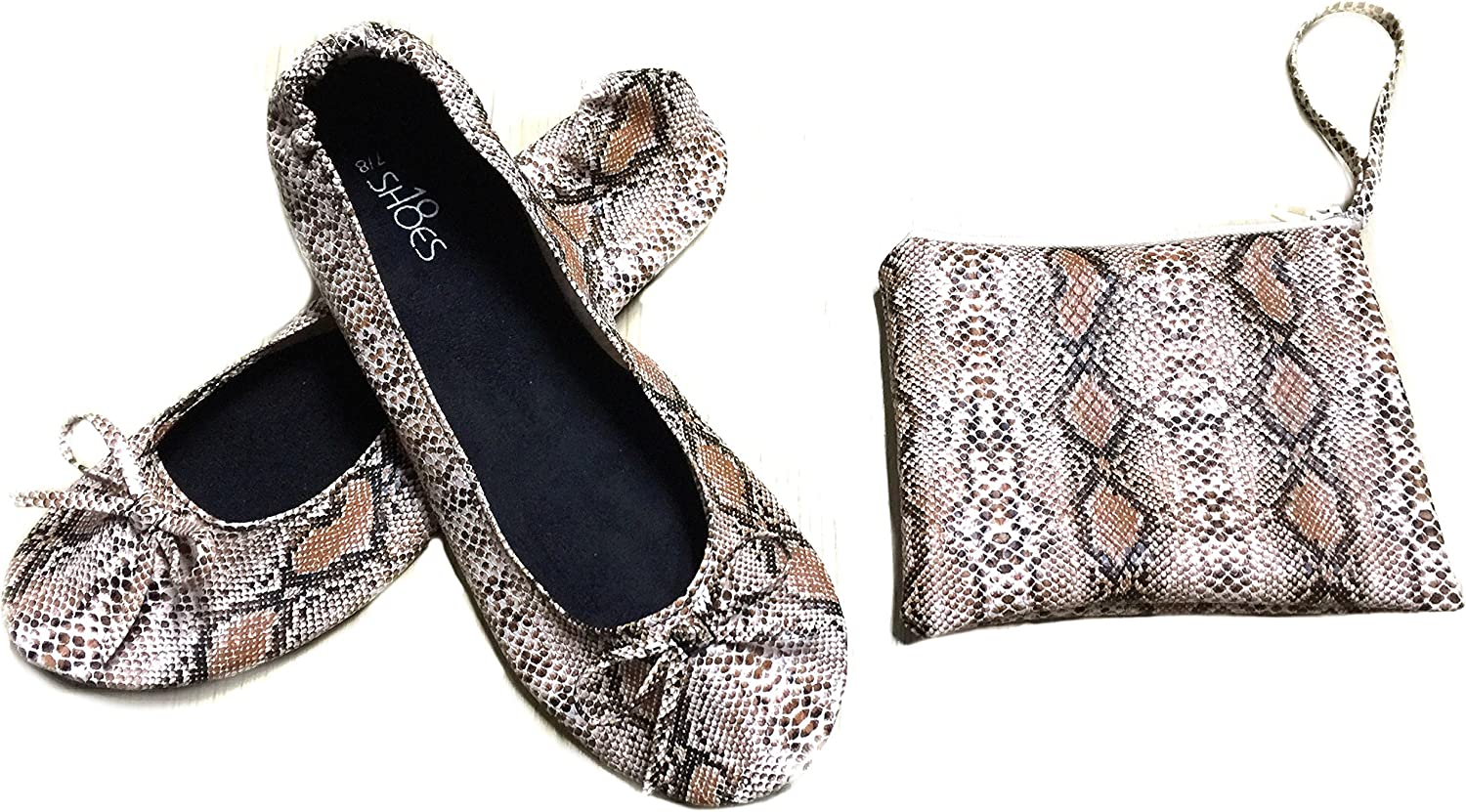 Shoes 18 Womens Foldable Portable Travel Ballet Flat Shoes w//Matching Carrying Case