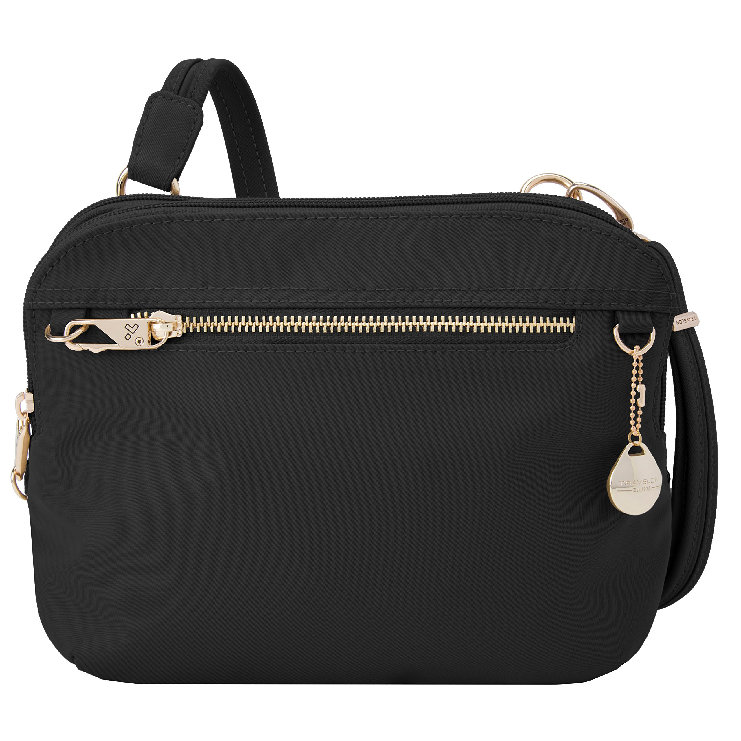 Travelon Women's Anti-Theft Tailored E/w Organizer Travel Purse, Onyx, One Size by Travelon