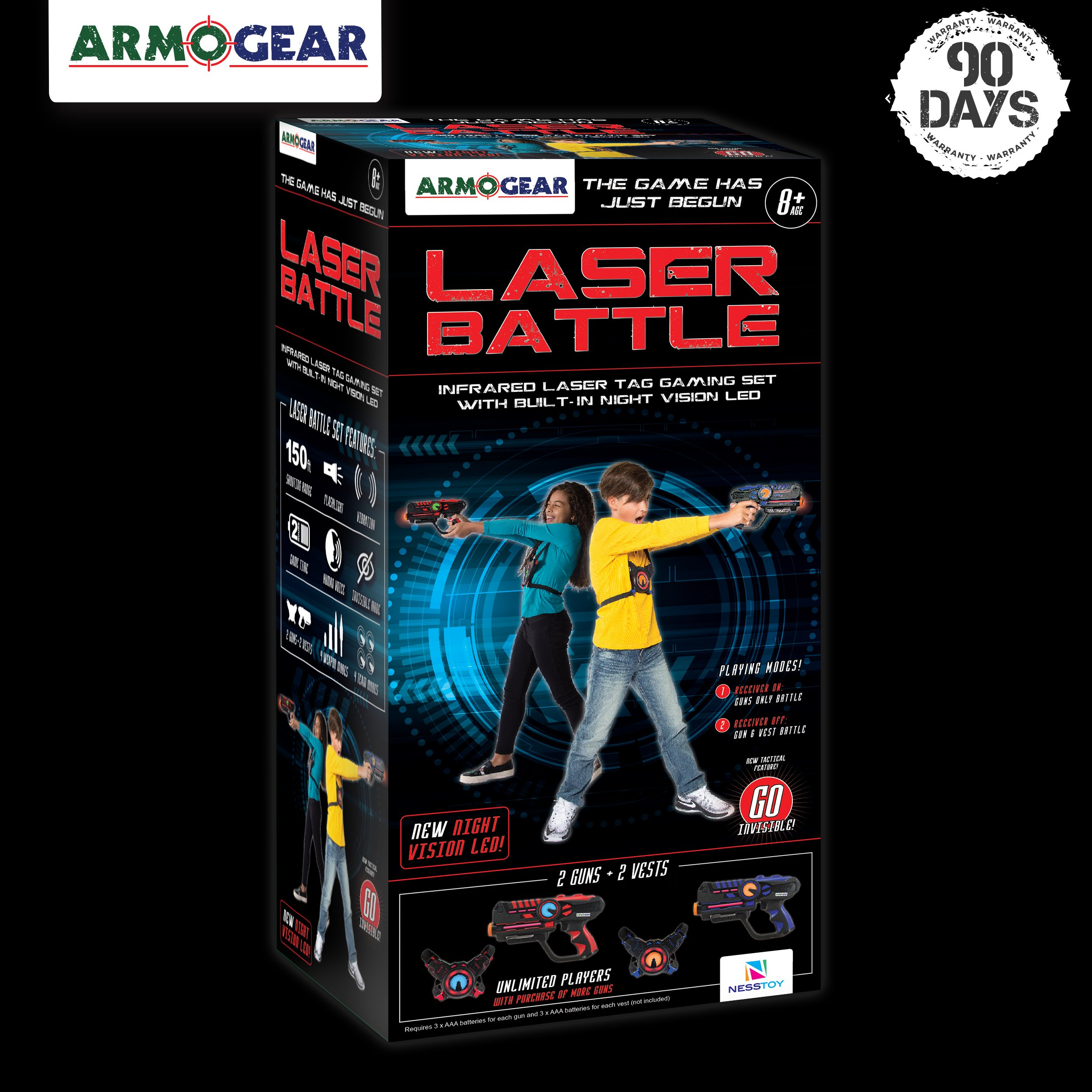 ArmoGear Infrared Laser Tag Guns and Vests - Laser Battle Game Pack Set of 2 - Infrared 0.9mW by ArmoGear (Image #6)