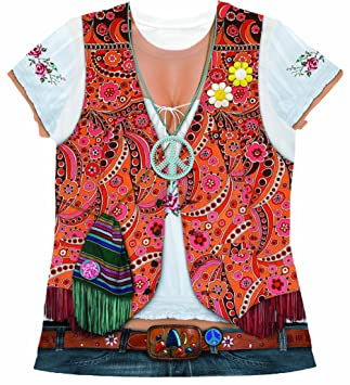 Faux Real Tees Disfraz de hippie para mujer, talla S (UK 08-10