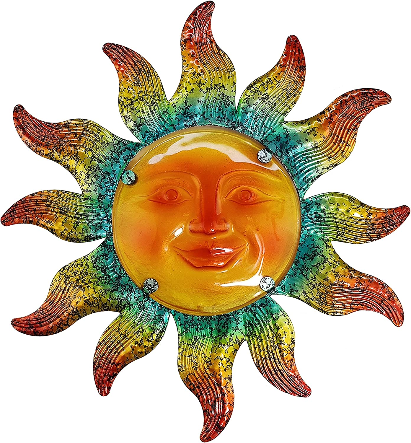 JOYBee Metal Sun Face Wall Art Decor-Sunface all Decor-Home Decor Artistic Sun Face Metal Wall Sculpture for Indoors or Outdoors Kitchen Farmhouse patio porch (13.25*12.5inch)
