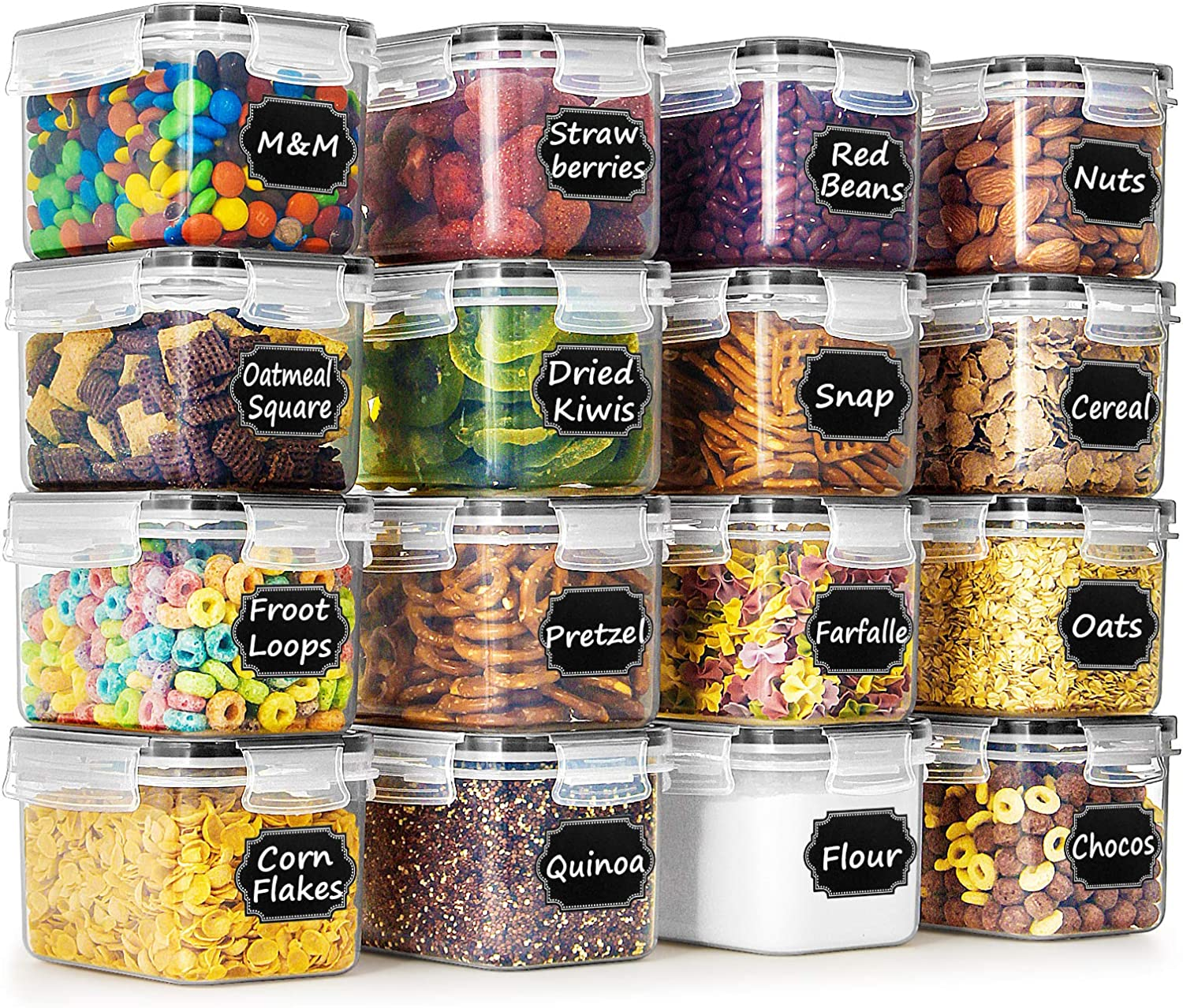 Airtight Food Storage Containers - Wildone Cereal & Dry Food Storage Container Set of 16 [0.8L /3.38 Cups] for Sugar, Flour and Baking Supplies, Leak-proof & BPA Free, with 20 Labels & 1 Marker