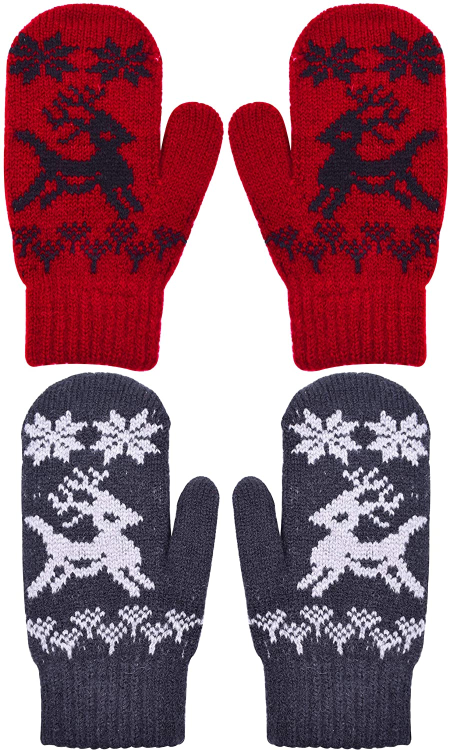 YJDS Kids Christmas Mittens Knit Wool Winter Gloves Warm 2/3 Pairs QX-KidsMittens03