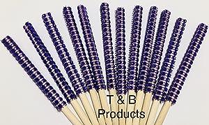 12 PC Purple Bling Candy Apple Sticks