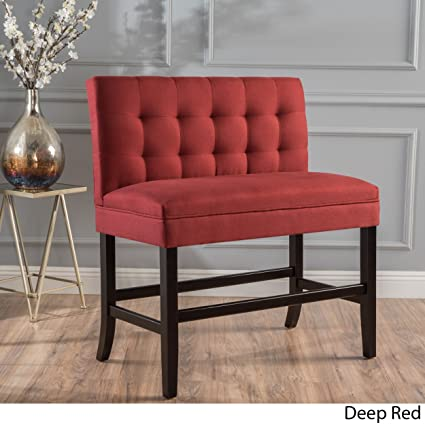 Contemporary Kenan 29 Inch Rubberwood Tufted Fabric High Back Dining Bench  Barstool (Deep Red