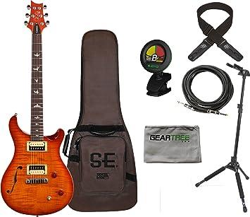 PRS SE Custom 22 Semi hueca guitarra eléctrica Vintage Sunburst w/funda, gamuza, soporte, sintonizador de bloqueo, cable, y Lock-It correa: Amazon.es: ...