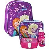Disney® Frozen Official Kids Children School Travel Rucksack Backpack Bag, Lunchbag Lunch Bag Case with Sandwich Box and Drinking Bottle Set for Kids Children