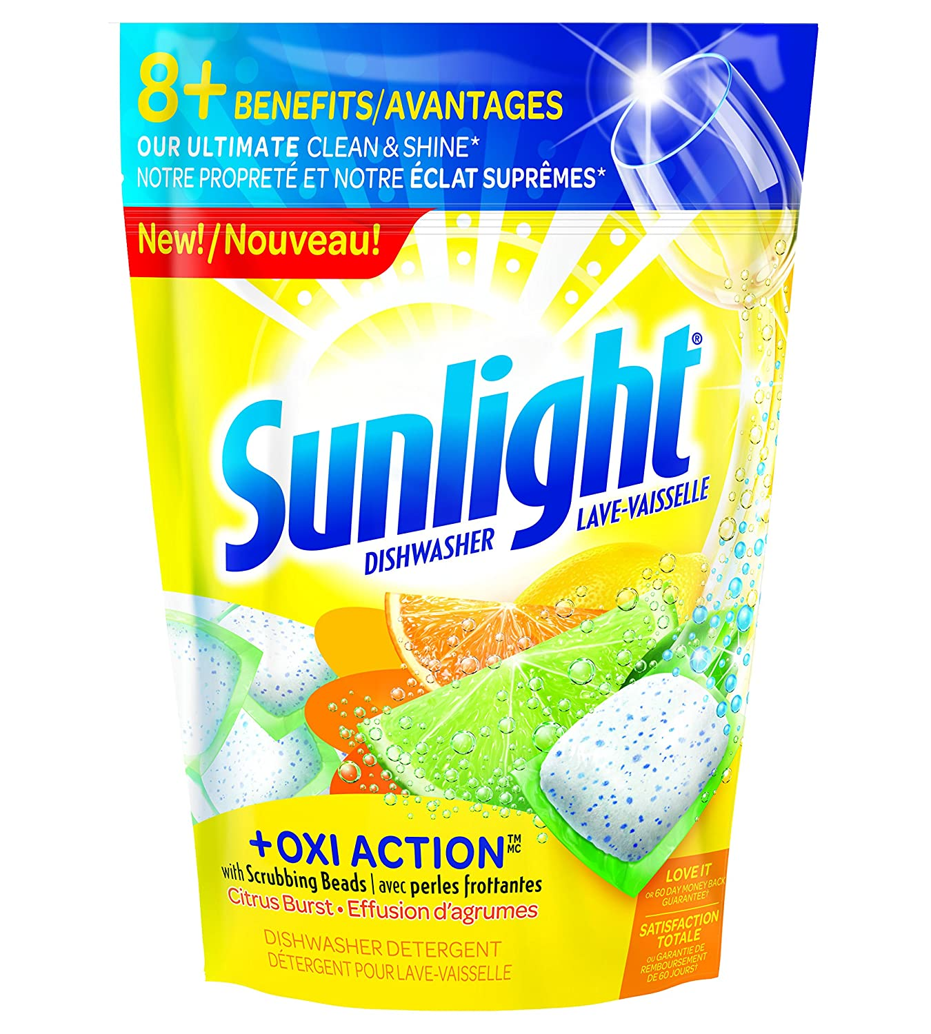 Sunlight Citrus Burst Dishwasher Pacs, 55-Count The Sun Products Corp.