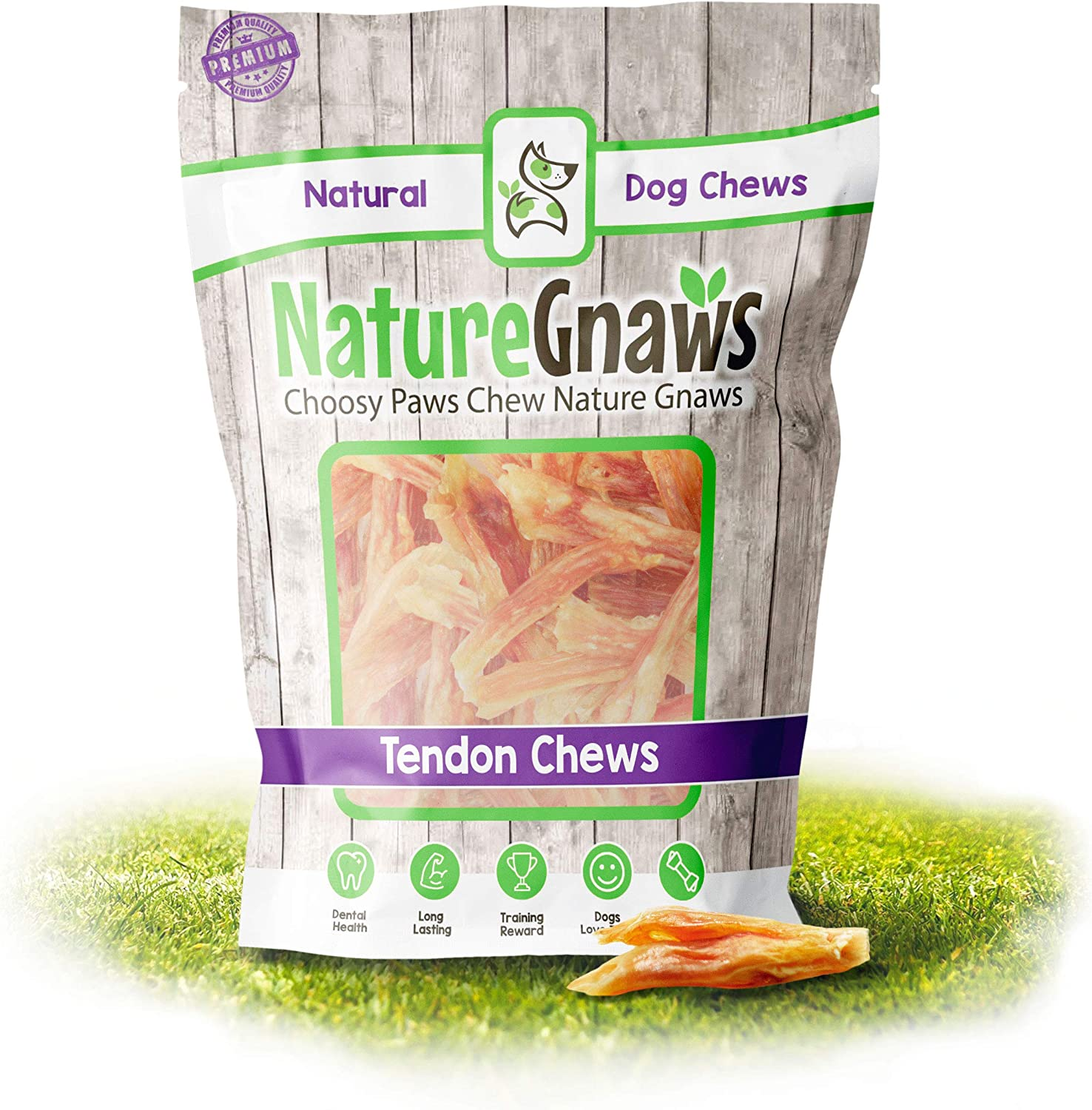 Nature Gnaws Tendons for Dogs - Premium Natural Beef Sticks - Simple Single Ingredient Tasty Dog Chew Treats - Rawhide Free - Bites (24 Count)